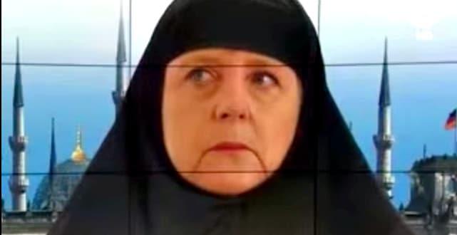 ميركل بالحجاب، صورة ميركل بالحجاب الإسلامي، وخلفها البرلمان الألماني