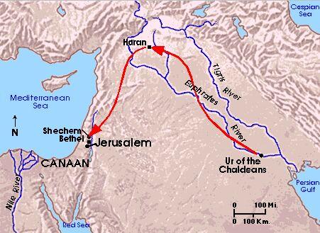 خريطة هجرة إبراهيم